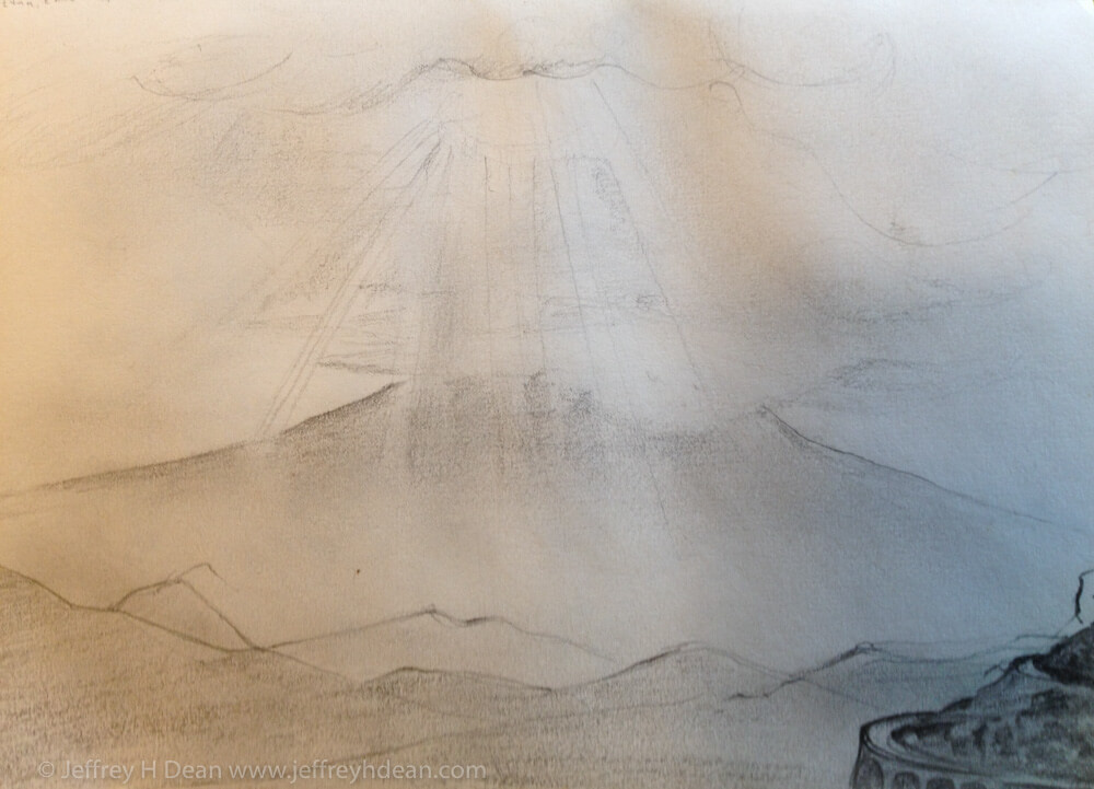 Sketch of sunburst over Mount Etna with viaduct.