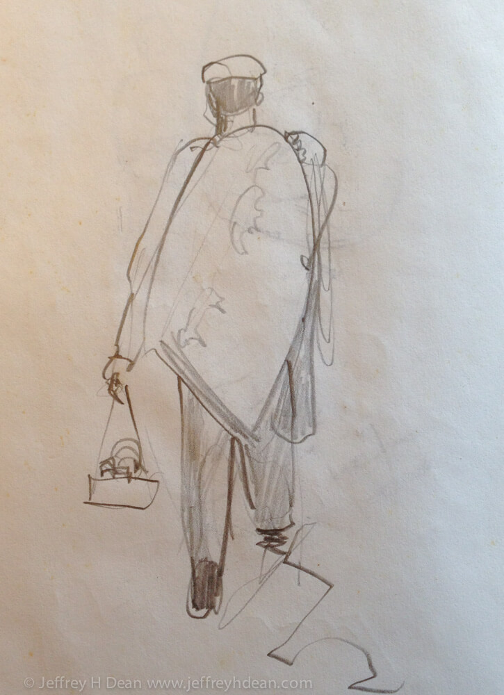 Pencil sketch of Sicilian street vendor.