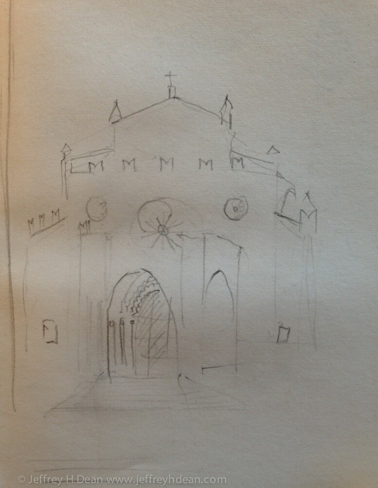 Sketch of Italian church.