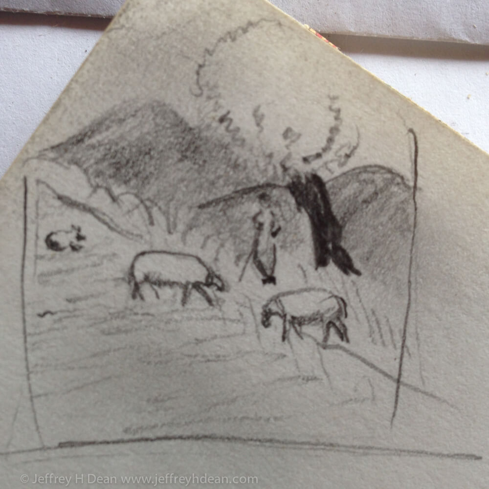 Sketch of Sicilian shepherd in the shade of a tree