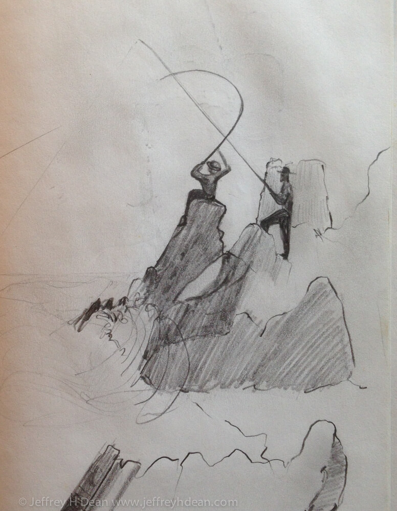 Sketch of two fishermen silhouetted against the rocks and sky