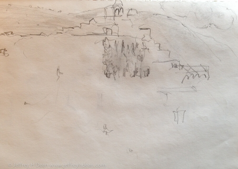 Quick sketch of an Italian hill town cascading from on high.