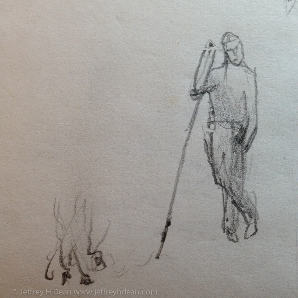 Drawing of shepherd tending a fire.