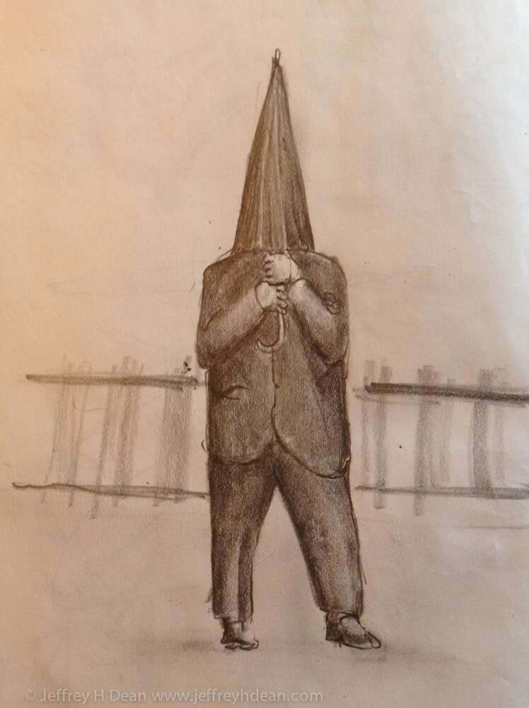 Drawing of man opeing his umbrella on the train platform