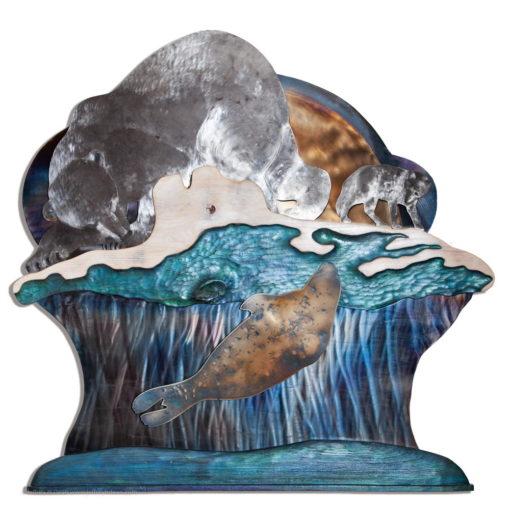 A lone polar bear and an arctic fox watch stealthily as a seal rises under it's breathing hole in this layered steel and wood relief in this engraved and heat tinted steel metal wall art.