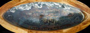 Metal wall art decorative Coffee Table made for Bear Trail Lodge in the Bristol Bay region of Alaska.