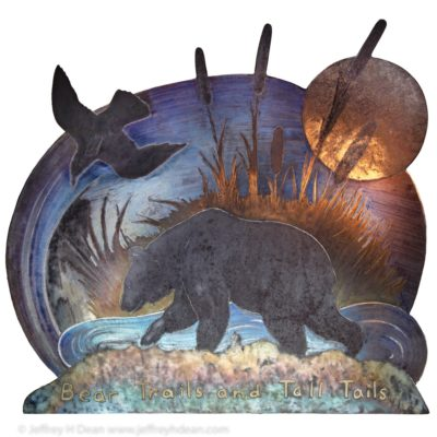 Steel engraving of brown bear ambling beside a pond with tall cattails, the moon and a raven above.