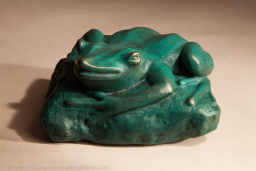 Bronze frog smiling from the muddy bank.