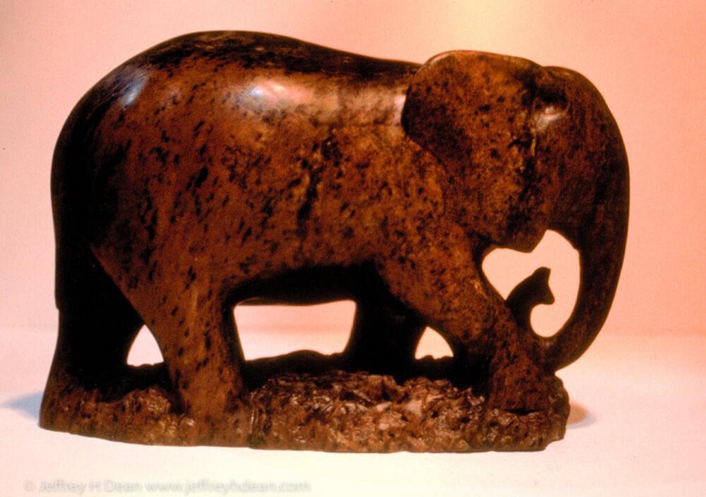 Brown soapstone elephant.