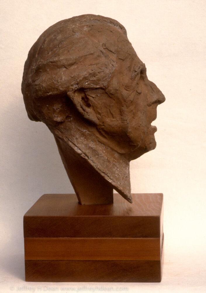 Fired clay portrait of Frank Lloyd Wright.