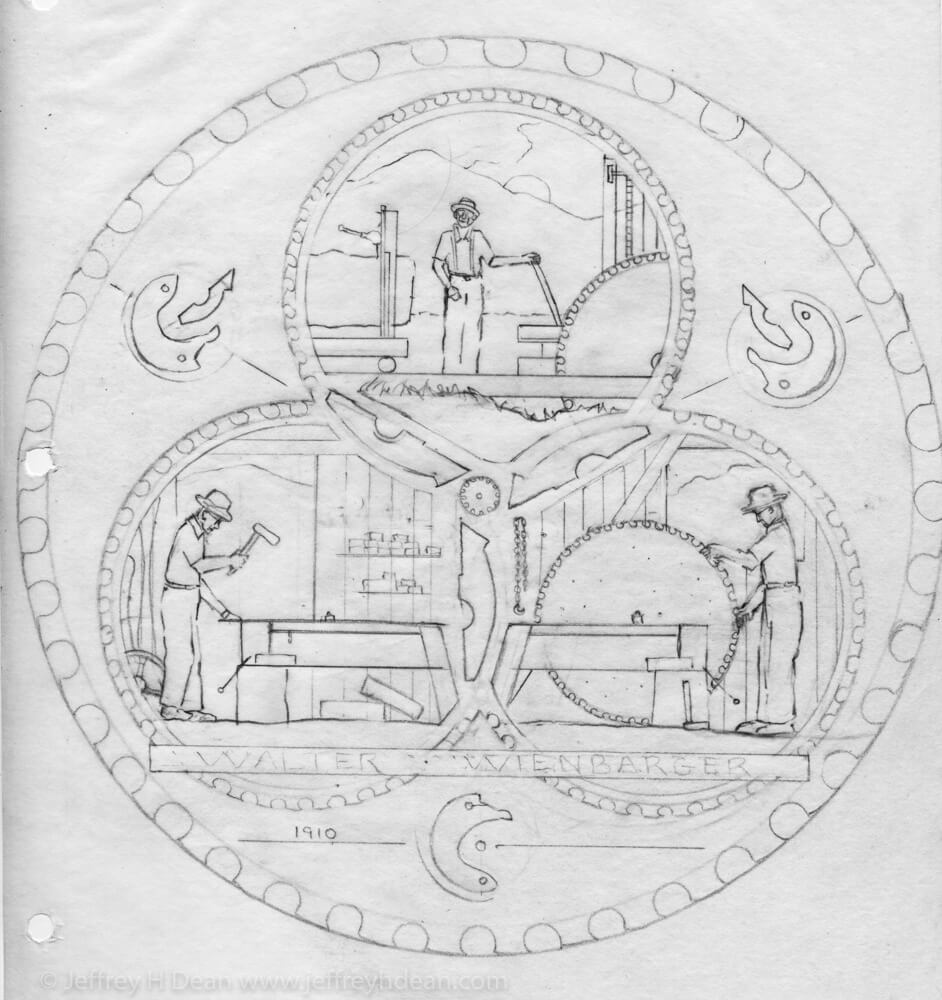 Sketch for sawblade showing sawblade truing shop and sawmill.