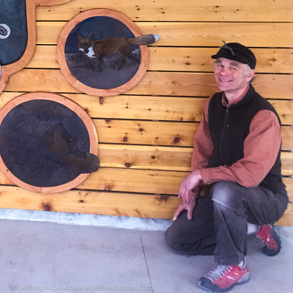 Jeff Dean after installing Through Your Spotting Scope, the first percent for art project in Alaska State Parks.
