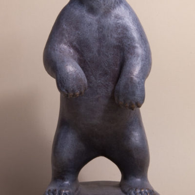 Bronze sculpture of standing polar bear