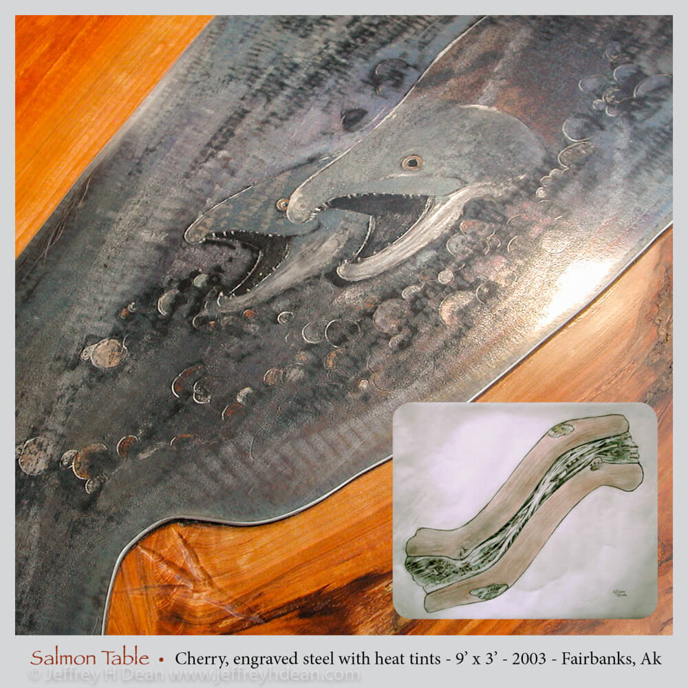 Lifecycle in salmon stream. Engraved steel with heat tints on cherry table.