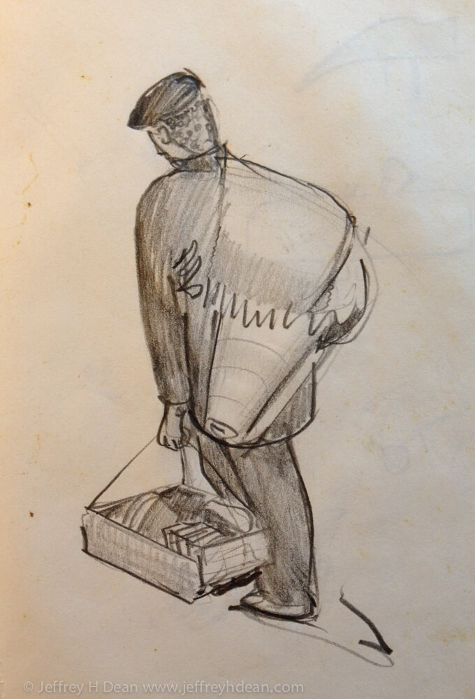 Sketch of Sicilian street vendor.