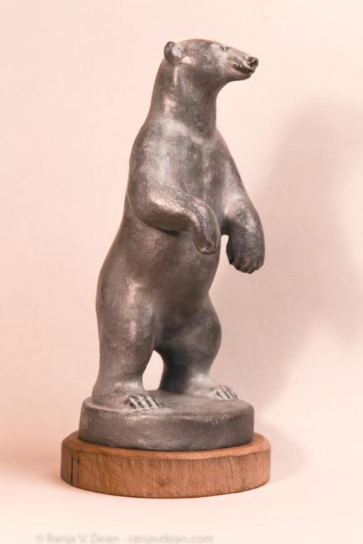Bronze sculpture of standing polar bear