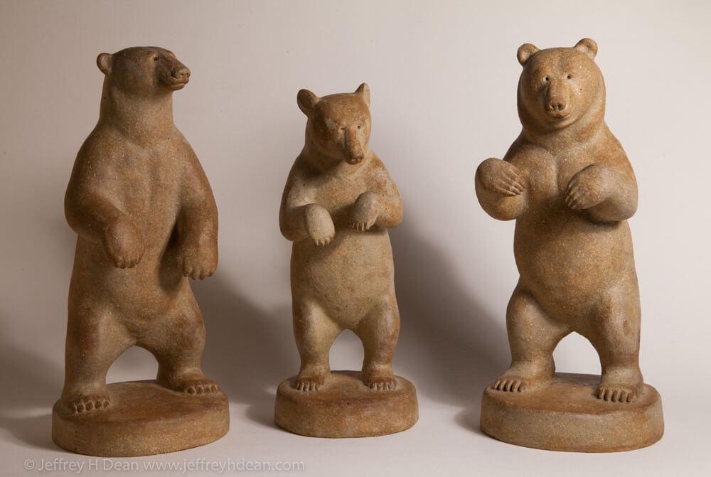 Clay sculptues of polar bear, black bear and grizzly bear.By Ranja
