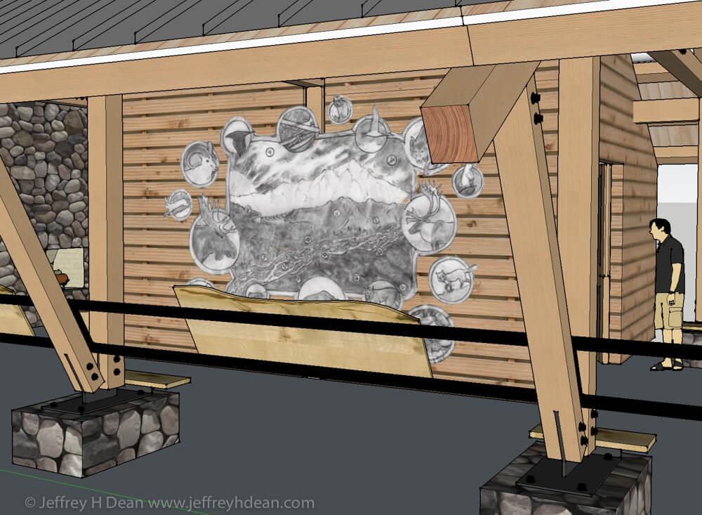 Mockup of drawing on Kesugi Ken Interpretive Center wall.
