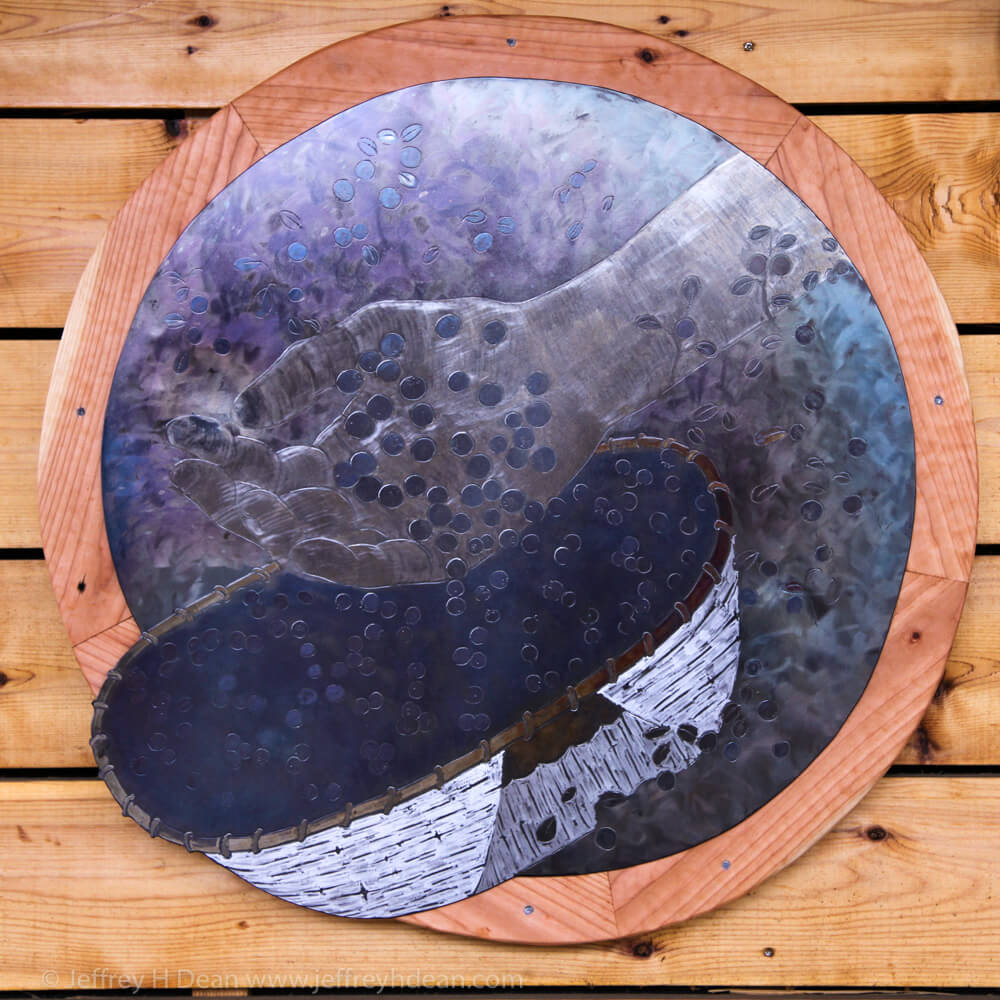 Berry picking. Engraved steel picture of dumping a handfull of blueberries into a birch bark basket.