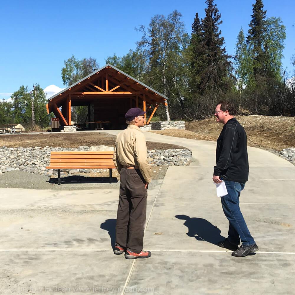 Jeff Dean speaking with Kesugi Ken Campground project coordinator, Luke.